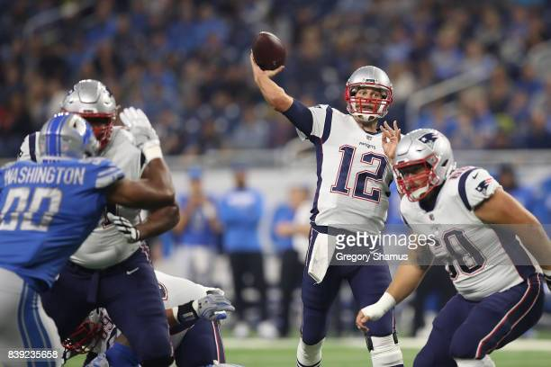 Tom Brady of the New England Patriots throws a first quarter pass while playing the Detroit Lions during a preseason game at Ford Field on August 25...