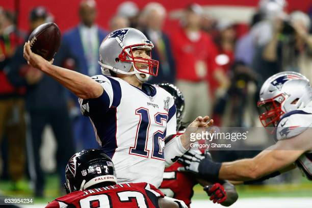 Tom Brady of the New England Patriots throws a pass against the Atlanta Falcons in the fourth quarter during Super Bowl 51 at NRG Stadium on February...