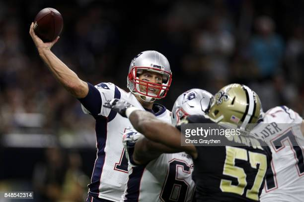 Tom Brady of the New England Patriots throws a pass against the New Orleans Saints at the MercedesBenz Superdome on September 17 2017 in New Orleans...