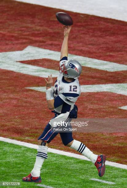 Tom Brady of the New England Patriots throws a pass against the Atlanta Falcons during Super Bowl 51 at NRG Stadium on February 5 2017 in Houston...