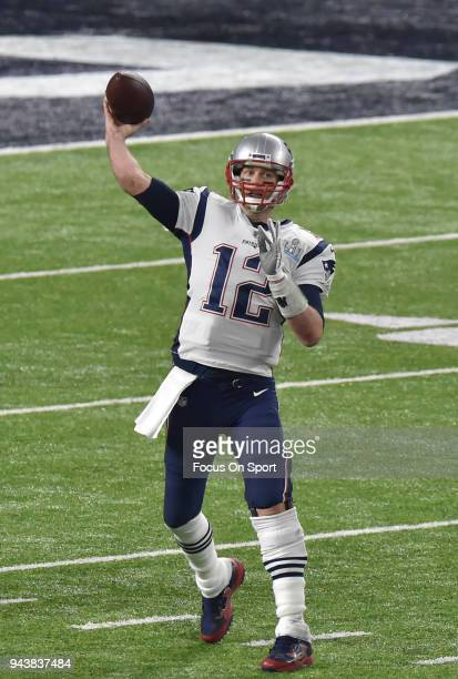 Tom Brady of the New England Patriots throws a pass against the Philadelphia Eagles during Super Bowl LII at US Bank Stadium on February 4 2018 in...