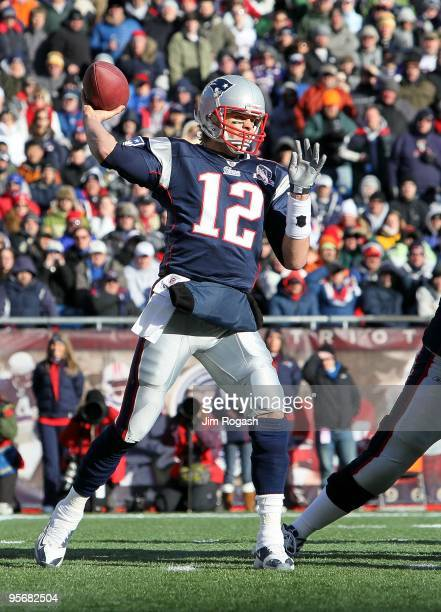 Tom Brady of the New England Patriots throws a pass against the Baltimore Ravens during the 2010 AFC wildcard playoff game at Gillette Stadium on...
