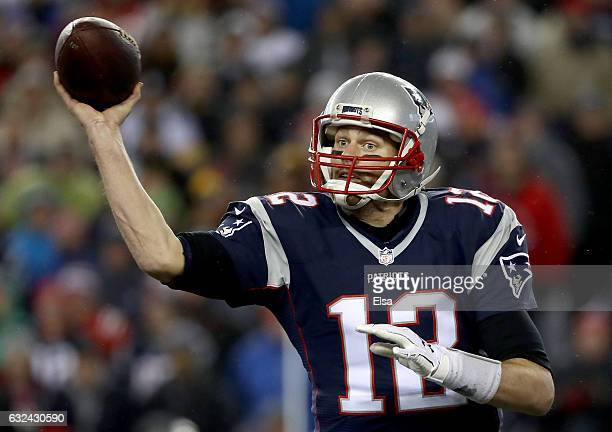 Tom Brady of the New England Patriots throws a pass during the first half against the Pittsburgh Steelers in the AFC Championship Game at Gillette...