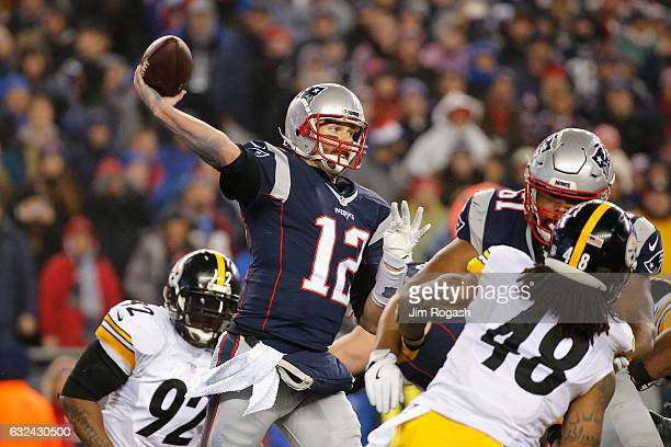 Tom Brady of the New England Patriots throws a pass during the second half against the Pittsburgh Steelers in the AFC Championship Game at Gillette...