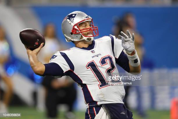 Tom Brady of the New England Patriots throws a pass while playing the Detroit Lions at Ford Field on September 23 2018 in Detroit Michigan