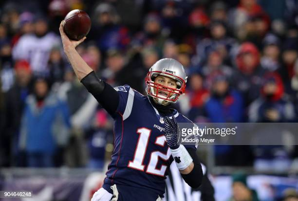 Tom Brady of the New England Patriots throws in the second quarter of the AFC Divisional Playoff game against the Tennessee Titans at Gillette...