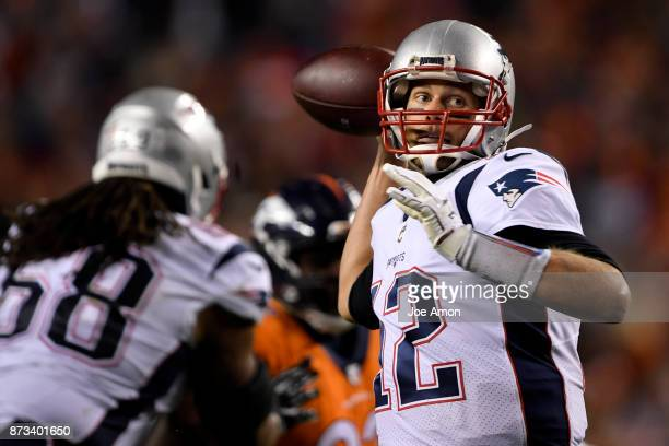 Tom Brady of the New England Patriots throws the ball against the Denver Broncos defense during the second quarter on Sunday November 12 2017 The...