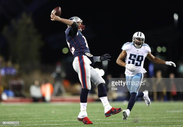 Tom Brady of the New England Patriots throws the ball during the fourth quarter in the AFC Divisional Playoff game against the Tennessee Titans at...