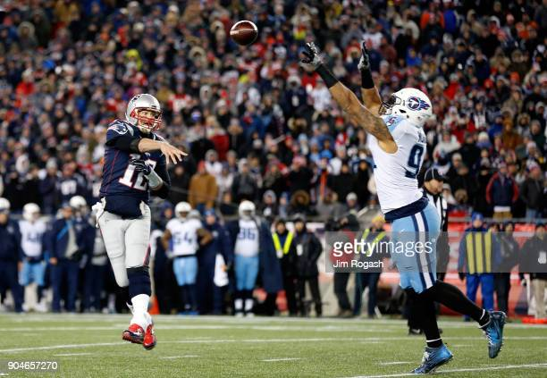 Tom Brady of the New England Patriots throws the ball during the fourth quarter of the AFC Divisional Playoff game against the Tennessee Titans at...