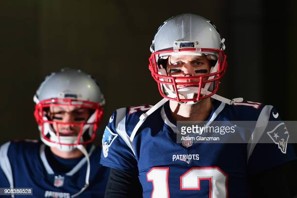 Tom Brady of the New England Patriots walks through a tunnel before the AFC Championship Game against the Jacksonville Jaguars at Gillette Stadium on...