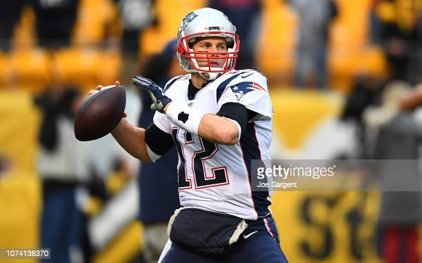 Tom Brady of the New England Patriots warms up before the game against the Pittsburgh Steelers at Heinz Field on December 16 2018 in Pittsburgh...