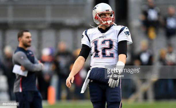 Tom Brady of the New England Patriots warms up before the game against the Pittsburgh Steelers at Heinz Field on December 17 2017 in Pittsburgh...