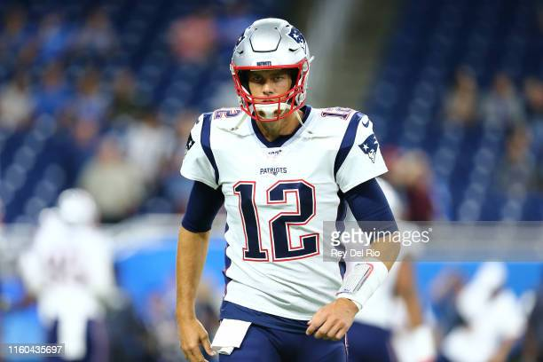 Tom Brady of the New England Patriots warms up prior to the preseason game against Detroit Lions at Ford Field on August 8, 2019 in Detroit, Michigan.