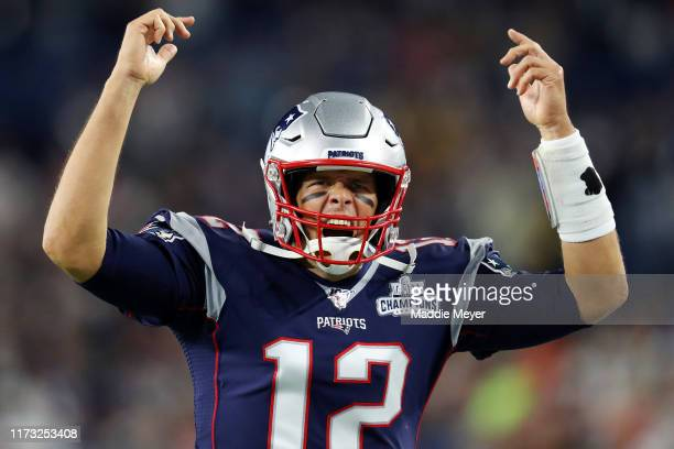 Tom Brady of the New England Patriots yells before the game between the at Gillette Stadium on September 08 2019 in Foxborough Massachusetts