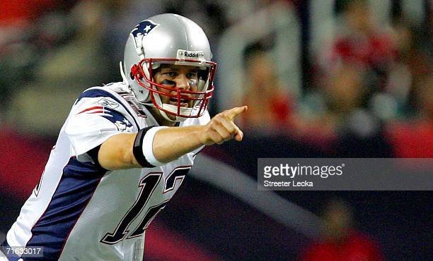 Tom Brady of the New England Patriots yells to his team during their preseason game against the Atlanta Falcons on August 11 2006 at the Georgia Dome...