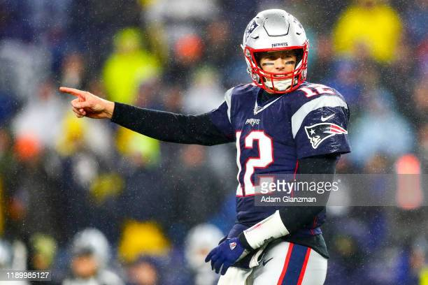 Tom Brady of the New England reacts during a game against the Dallas Cowboys at Gillette Stadium on November 24, 2019 in Foxborough, Massachusetts.