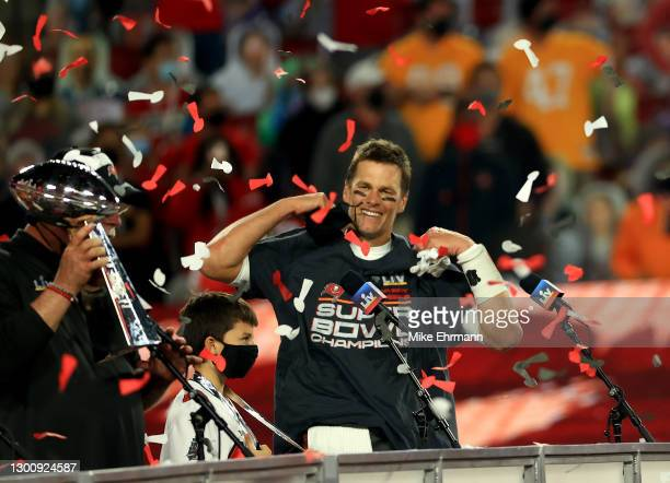 Tom Brady of the Tampa Bay Buccaneers celebrates after defeating the Kansas City Chiefs in Super Bowl LV at Raymond James Stadium on February 07,...