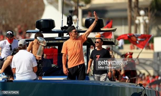 Tom Brady of the Tampa Bay Buccaneers celebrates their Super Bowl LV victory during a boat parade through the city on February 10, 2021 in Tampa,...