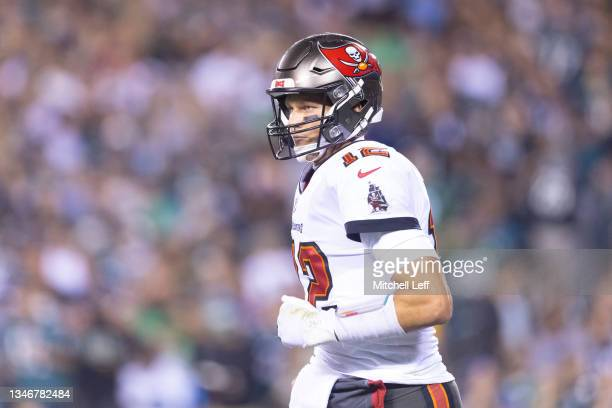 Tom Brady of the Tampa Bay Buccaneers looks on against the Philadelphia Eagles at Lincoln Financial Field on October 14, 2021 in Philadelphia,...