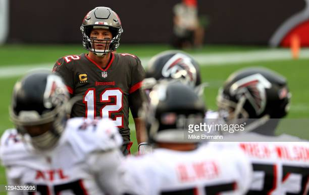 Tom Brady of the Tampa Bay Buccaneers looks on during a game against the Atlanta Falcons at Raymond James Stadium on January 03, 2021 in Tampa,...