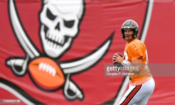 Tom Brady of the Tampa Bay Buccaneers looks to pass during training camp at AdventHealth Training Center on August 30, 2020 in Tampa, Florida.