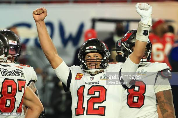 Tom Brady of the Tampa Bay Buccaneers reacts after defeating the Kansas City Chiefs in Super Bowl LV at Raymond James Stadium on February 07, 2021 in...
