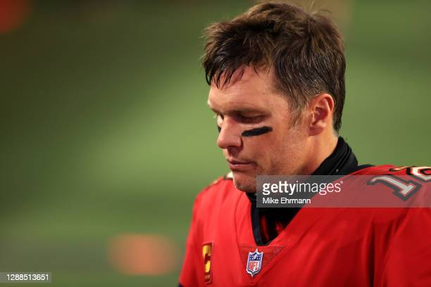 Tom Brady of the Tampa Bay Buccaneers reacts following their game against the Kansas City Chiefs at Raymond James Stadium on November 29, 2020 in...
