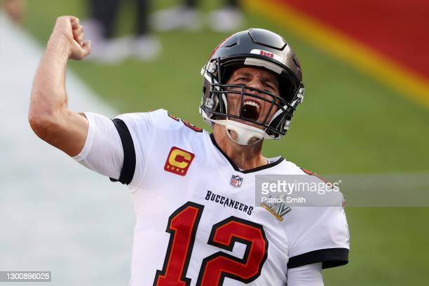 Tom Brady of the Tampa Bay Buccaneers shouts as he takes the field before Super Bowl LV against the Kansas City Chiefs at Raymond James Stadium on...
