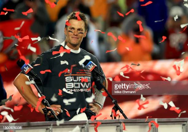 Tom Brady of the Tampa Bay Buccaneers signals after winning Super Bowl LV at Raymond James Stadium on February 07, 2021 in Tampa, Florida.