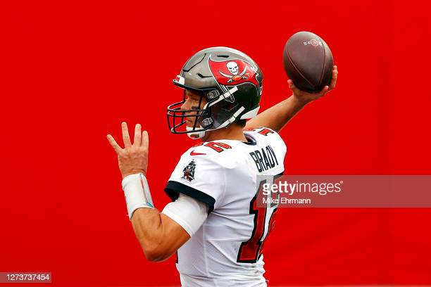 Tom Brady of the Tampa Bay Buccaneers throws a pass during the second half against the Carolina Panthers at Raymond James Stadium on September 20,...