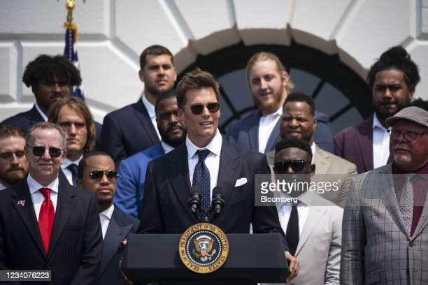 Tom Brady, quarterback of Tampa Bay Buccaneers, center, speaks during a ceremony with U.S. President Joe Biden, not pictured, on the South Lawn of...
