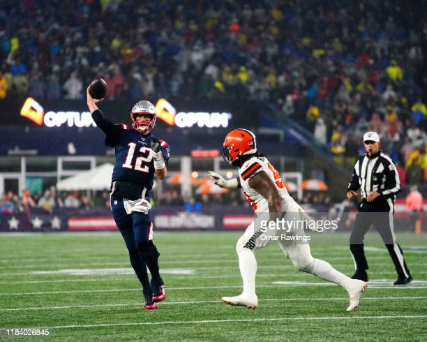 Tom Brady scrambles right and looks to pass during the fourth quarter of the game against the Cleveland Browns at Gillette Stadium on October 27,...