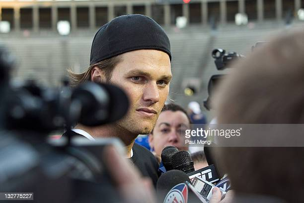 Tom Brady speaks with the press at the flag football kick off for the 2011 Audi Best Buddies Challenge at Harvard Stadium on June 3, 2011 in Boston,...