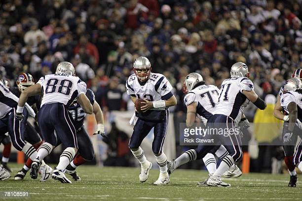 Tom Brady the New England Patriots moves back during the game against the Buffalo Bills at Ralph Wilson Stadium November 18 2007 in Orchard Park New...