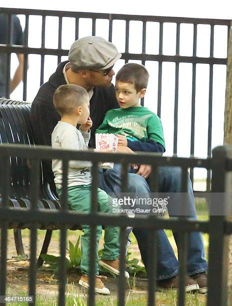 Tom Brady with Benjamin Brady and Jack Moynihan are seen on May 18 2013 in Boston Massachusetts