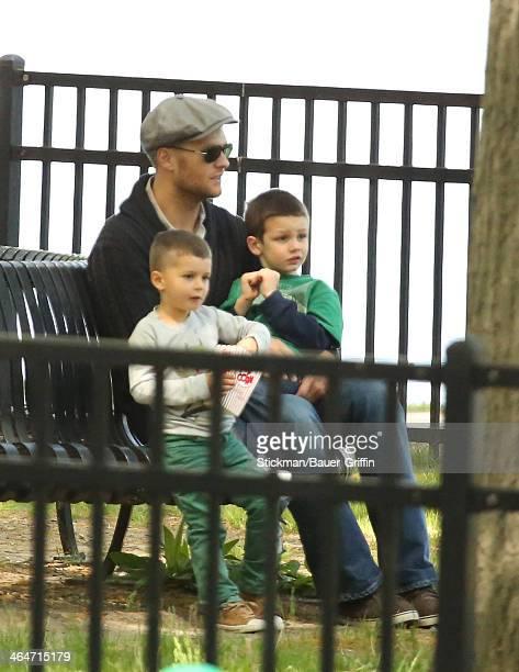 Tom Brady with Benjamin Brady and Jack Moynihan are seen on May 18 2013 in Boston Massachusetts