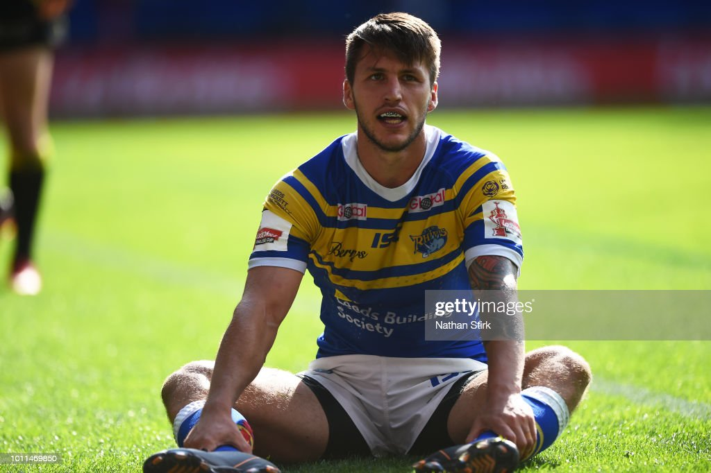 Tom Briscoe of Leeds looks on during the Ladbrokes Challenge Cup Semi Final match between Warrington Wolves and Leeds Rhinos at Macron Stadium on August 5, 2018 in Bolton, England.