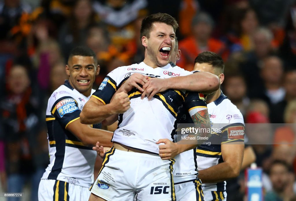 Tom Briscoe of Leeds Rhinos celebrates scoring the first try during the Betfred Super League Grand Final match between Castleford Tigers and Leeds Rhinos at Old Trafford on October 7, 2017 in Manchester, England.
