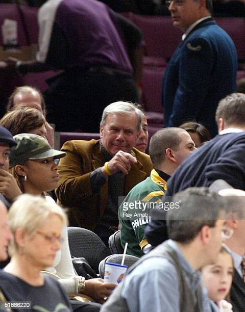 Tom Brokaw attends a game between the New York Knicks and Dallas Mavericks at Madison Square Garden on December 21 2004 in New York City NOTE TO USER...