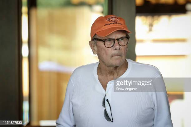 Tom Brokaw former anchor of NBC Nightly News arrives at the annual Allen Company Sun Valley Conference July 9 2019 in Sun Valley Idaho Every July...