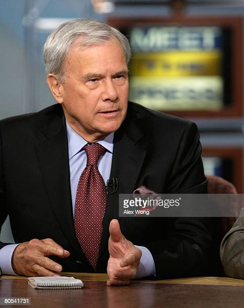 Tom Brokaw host of History Channel's 'King' with Tom Brokaw and former NBC Nightly News anchor speaks during a taping of 'Meet the Press' at the NBC...