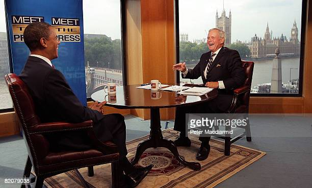 Tom Brokaw interviews presumptive US Democratic Presidential candidate Senator Barack Obama during a taping of 'Meet the Press' on July 26 2008 in...