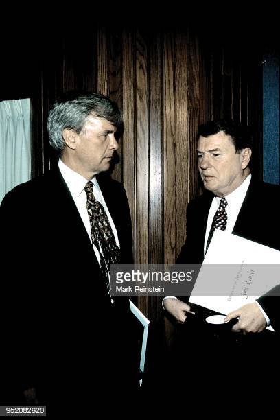 Tom Brokaw left of NBC and Jim Lehrer of PBS at the National Press Club Washington DC June 11 1996