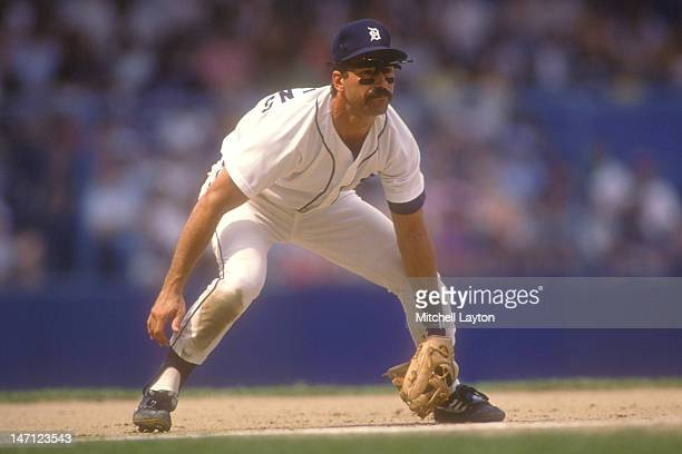 Tom Brookens of the Detroit Tigers takes a swing during a baseball game against the Oakland Athletics on June 1 1988 at Tigers Stadium in Detroit...