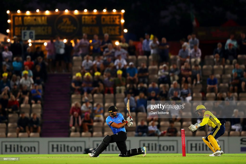 Tom Bruce of Sussex Sharks bats during the Vitality Blast match between Hampshire and Sussex Sharks at The Ageas Bowl on July 12, 2018 in Southampton, England.