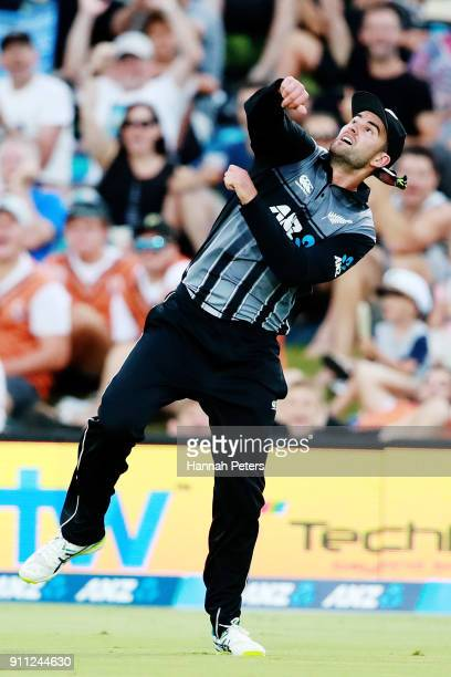 Tom Bruce of the Black Caps celebrates after catching Fakhar Zaman of Pakistan out during game three of the International Twenty20 match between New...