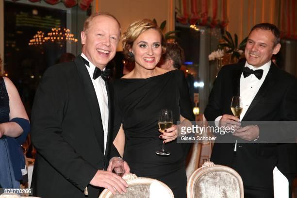 Tom Buhrow and Caren Miosga moderator 'Tagesthemen and her husband Tobias Grob during the 66th 'Bundespresseball' at Hotel Adlon on November 24 2017...