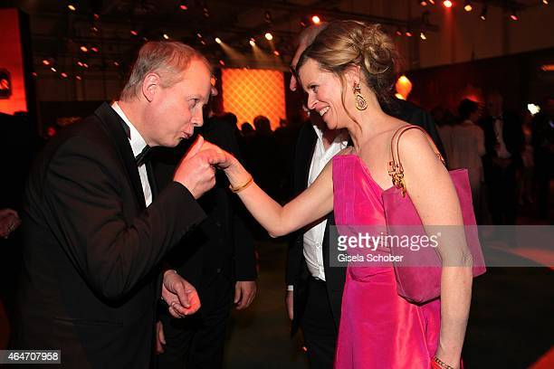 Tom Buhrow gives Leslie Malton a kiss on the hand during the Goldene Kamera 2015 after show party on February 27, 2015 in Hamburg, Germany.