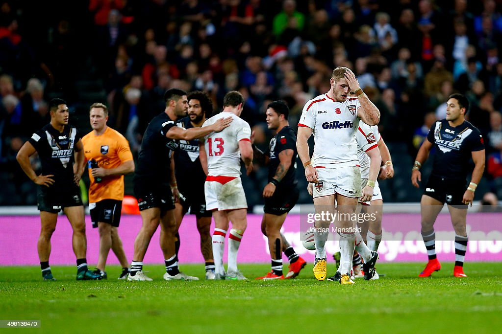 Tom Burgess of England looks dejected after their defeat in the International Rugby League Test Series match between England and New Zealand at the Olympic Stadium on November 7, 2015 in London, England.