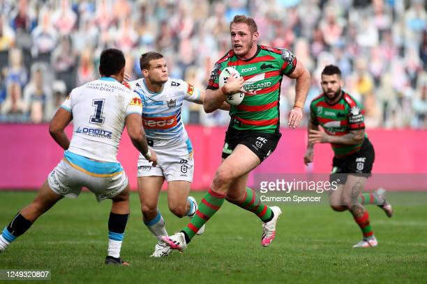Tom Burgess of the Rabbitohs makes a break during the round five NRL match between the South Sydney Rabbitohs and the Gold Coast Titans at Bankwest...